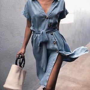 Zara denim linen button down belted Jean dress
